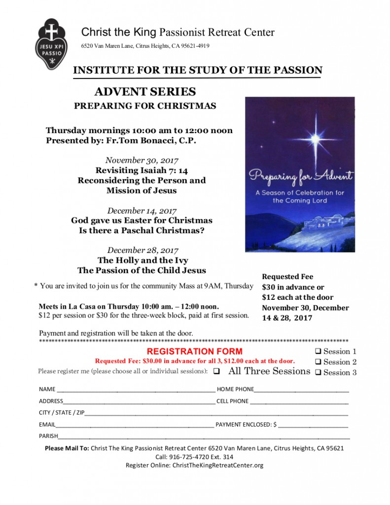 INSTITUTE OF THE PASSION advent Series 2017