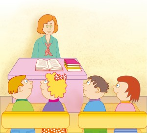Teacher and a group of young students in classroom - jpg illustration
